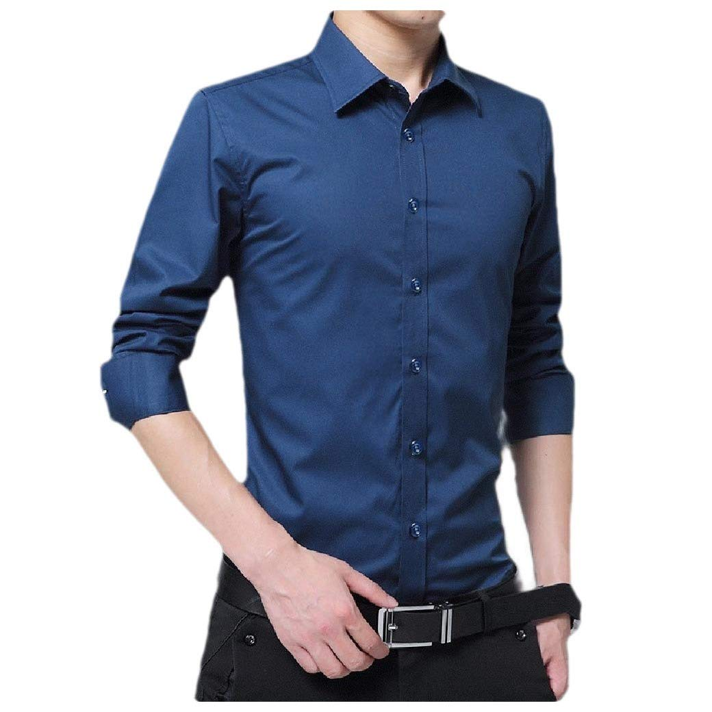 Tralounry Mens Long Sleeve Solid Oversize Button Collared Dress Shirts