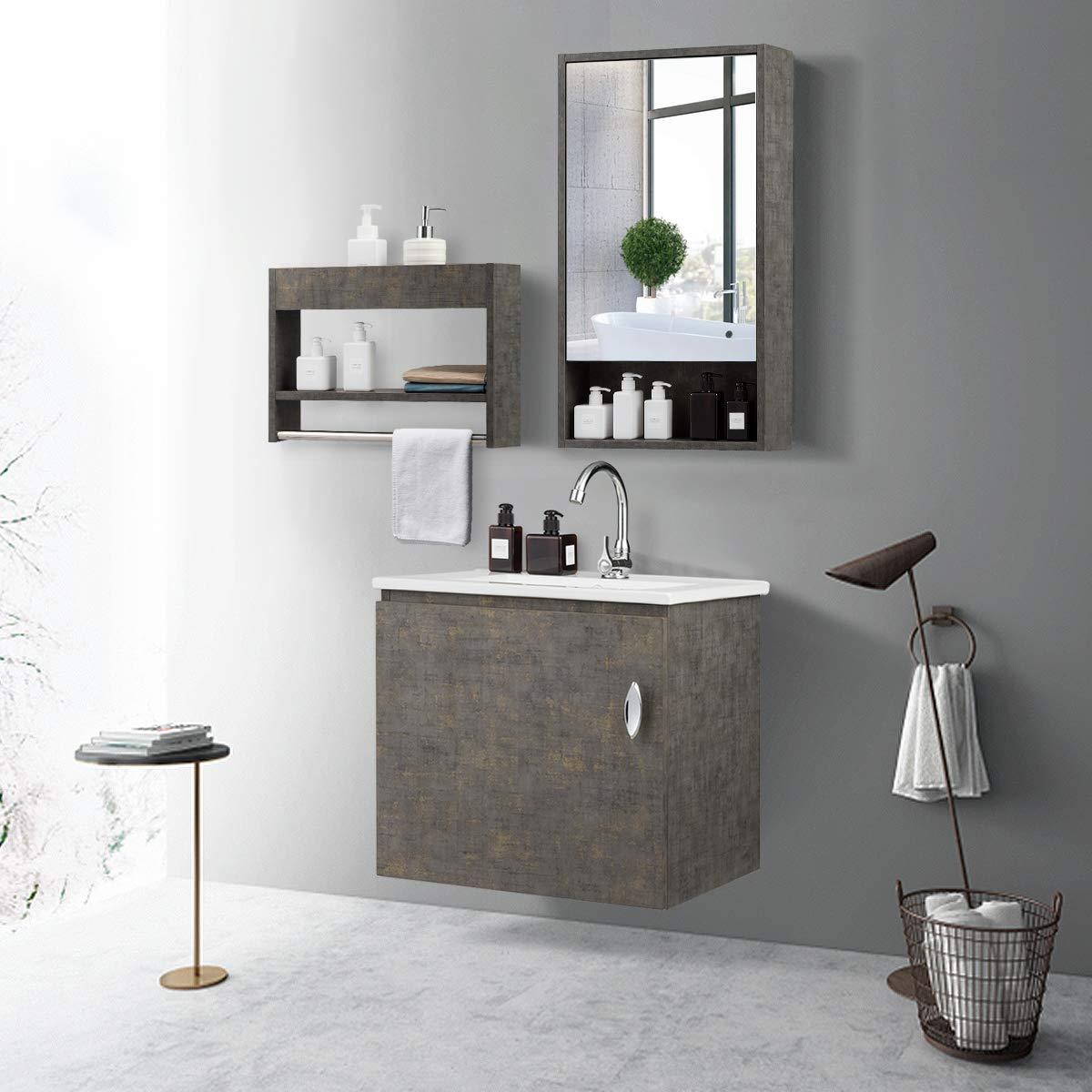 Tangkula Wall-Mounted Bathroom Vanity Set, Modern Bathroom ...