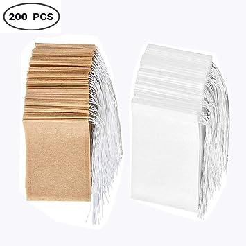 Bolsa de t/é de papel de un solo uso con material seguro y natural con cord/ón Set de bolsas de filtro de t/é desechables de 200 bolsa de infusi/ón de t/é vac/ía.