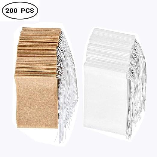 Juego de 200 bolsas desechables para filtro de té de papel ...