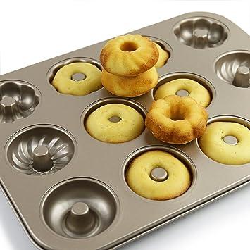 Donuts flores con forma de antiadherente de acero al carbono Madeleine sartenes molde para tartas para galletas para horno para galletas Chocolate hecho a ...