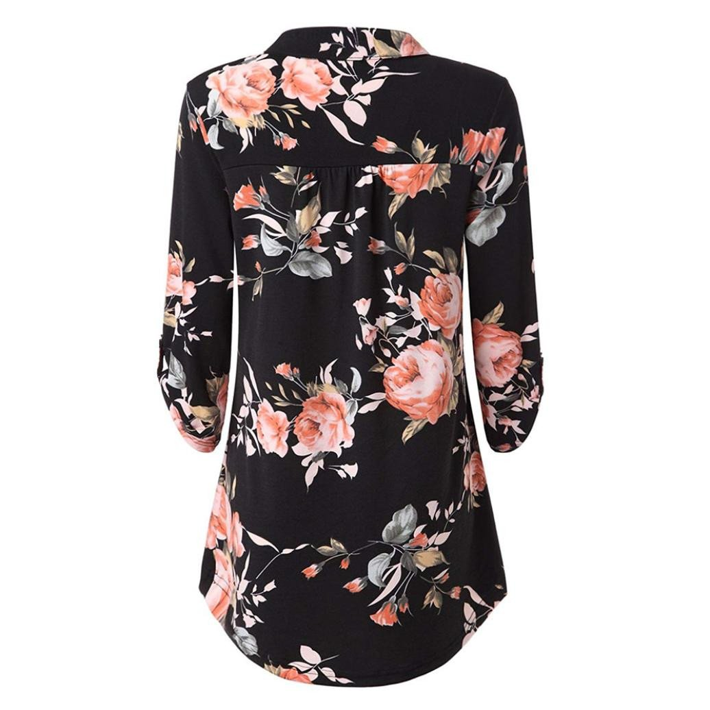 fa446b8f7883c Womens Floral Printed Tunic Shirts 3 4 Roll Sleeve Notch Neck Casual Tunic  Top