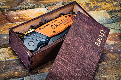 Personalized Engraved Knife + Wooden Gift Box Groomsmen Custom Pocket Knives Groomsman Boxes Husband Hunting Set Man Mens Boyfriend Wedding Gifts Folding Blade Rustic Wood Knifes Spring Assisted Open
