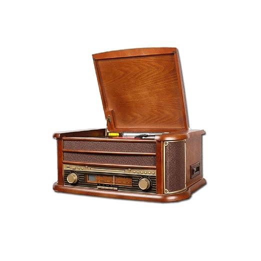 GOM Tocadiscos, Gramófono Retro Altavoces Estéreos con 3 ...