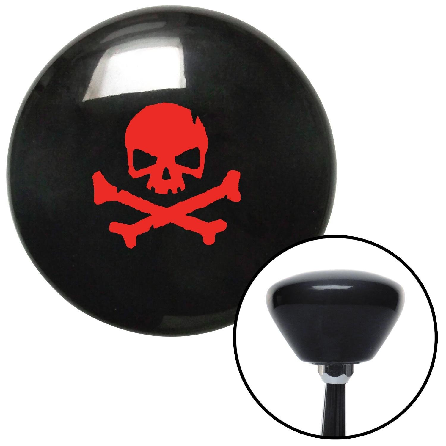 American Shifter 148973 Black Retro Shift Knob with M16 x 1.5 Insert Red Skull 1