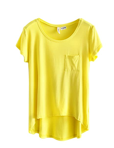 89897b1be547a8 Bestgift Damen Basic Tops Short Sleeve Tee Rundhals T-Shirt Gelb One Size:  Amazon.de: Bekleidung