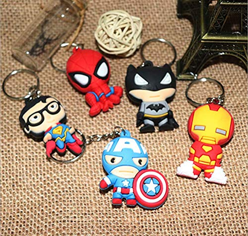 Astra Gourmet Cartoon Superhero Characters Keychains Key Chains Party Favors Action Figures for Children Party Theme Superheroes Supplies, Set of 5 -