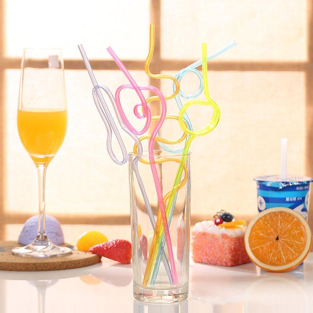 Pajitas Rizadas con Frutas Dise/ño Coloridas Fiesta Cumplea/ños Infantiles Pajitas Locas para Beber 10 Piezas