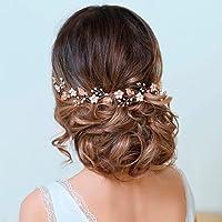 Runmi Diadema de novia con flores de color dorado, accesorios para el pelo de novia, diademas de cristal para mujeres y…