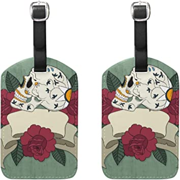 Roses Sugar Skull Luggage Tag Label Travel Bag Label With Privacy Cover Luggage Tag Leather Personalized Suitcase Tag Travel Accessories