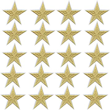 10pcs Yellow Star Patch Iron On Sew On Embroidered Badge Embroidery Applique