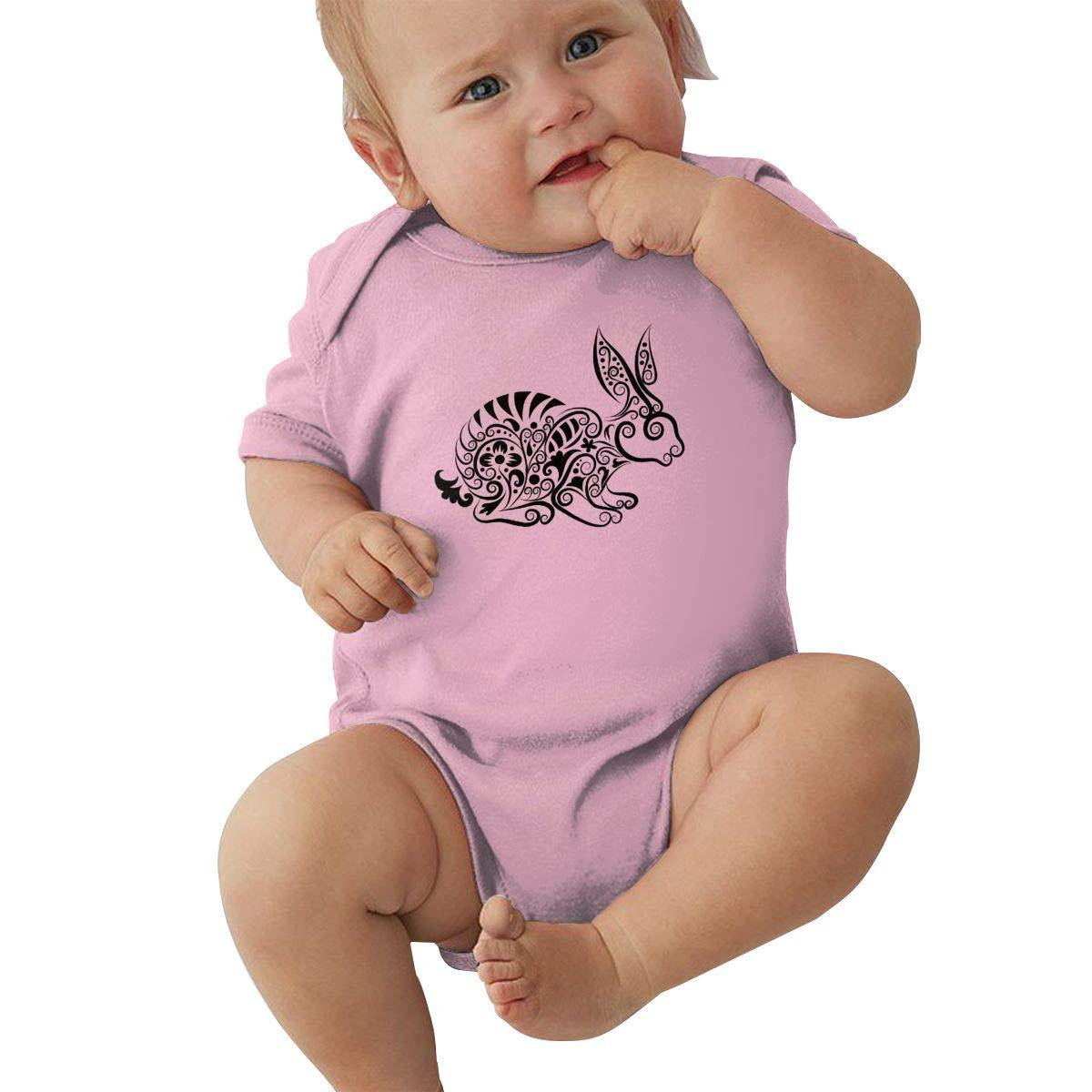 Toddler Baby Girls Bodysuit Short-Sleeve Onesie Rabbit Silhouette Print Rompers Winter Pajamas