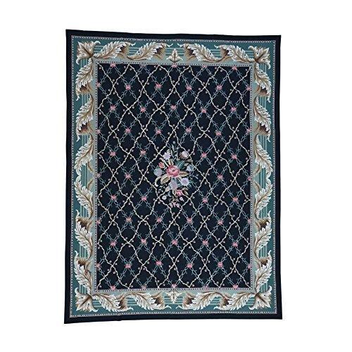 Shahbanu Rugs Needlepoint Hand-Stitched Botanical Design Pure Wool Rug (9' x 11'10