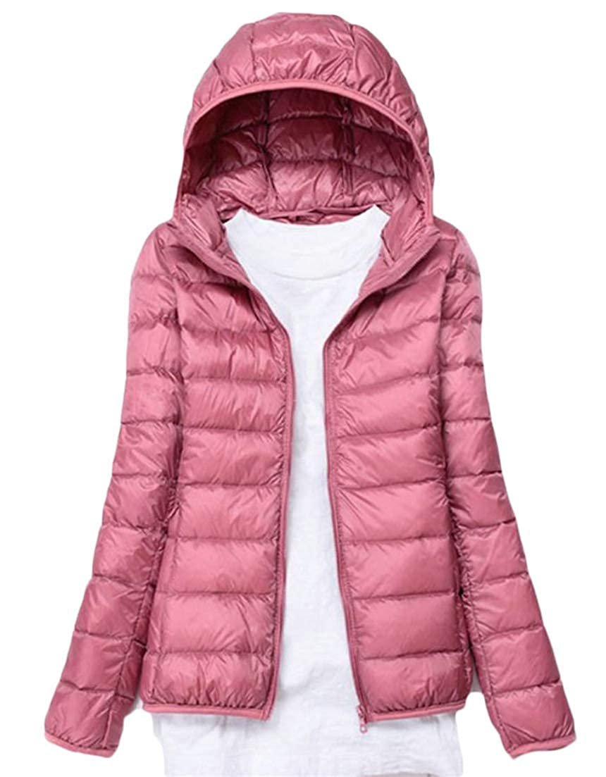 Pink Etecredpow Women's Leisure Outer Classical Long Sleeve Solid color Quilted Hooded Light Down Coat