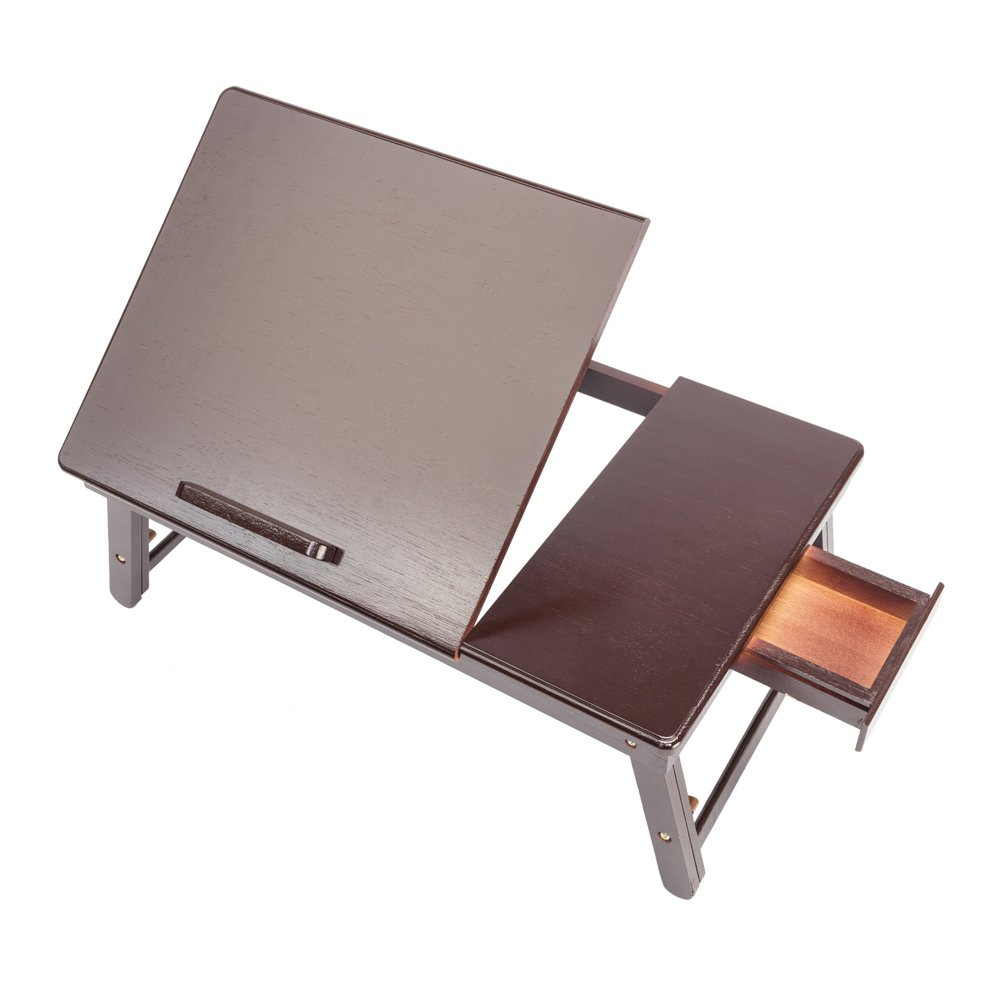 Tenozek Retro Plain Design Adjustable Bamboo Lap Desk Tray Dark Coffee