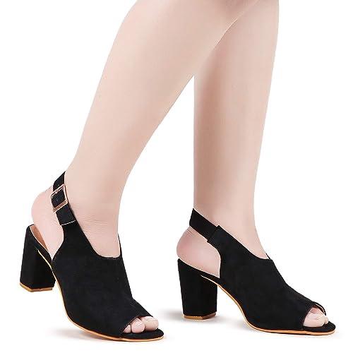 f217ba8324ba DEEANNE LONDON Black Ethnic Block Heels Single Back Strap (36)  Buy ...