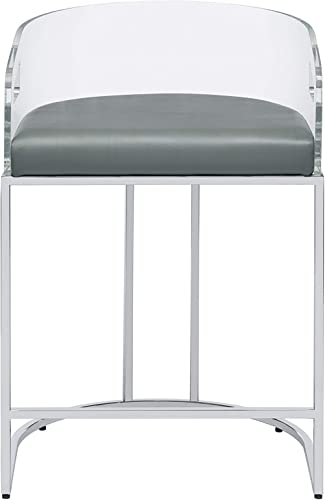 Coaster Home Furnishings Acrylic Back Counter Height Stools Grey and Chrome Set of 2