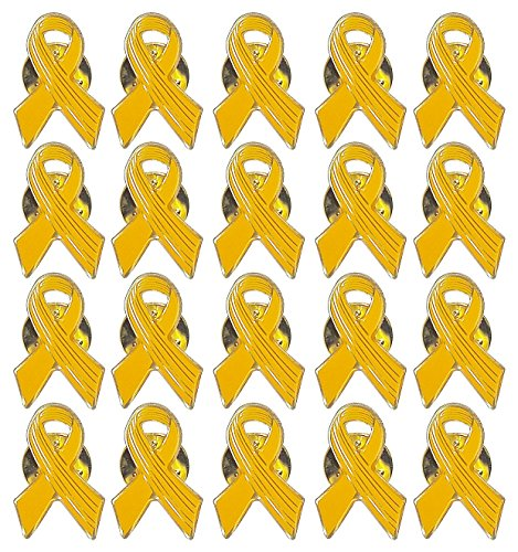 Lot of 20 - Yellow Awareness Ribbon Lapel Pins - Enamel On Gold Tone Metal. -
