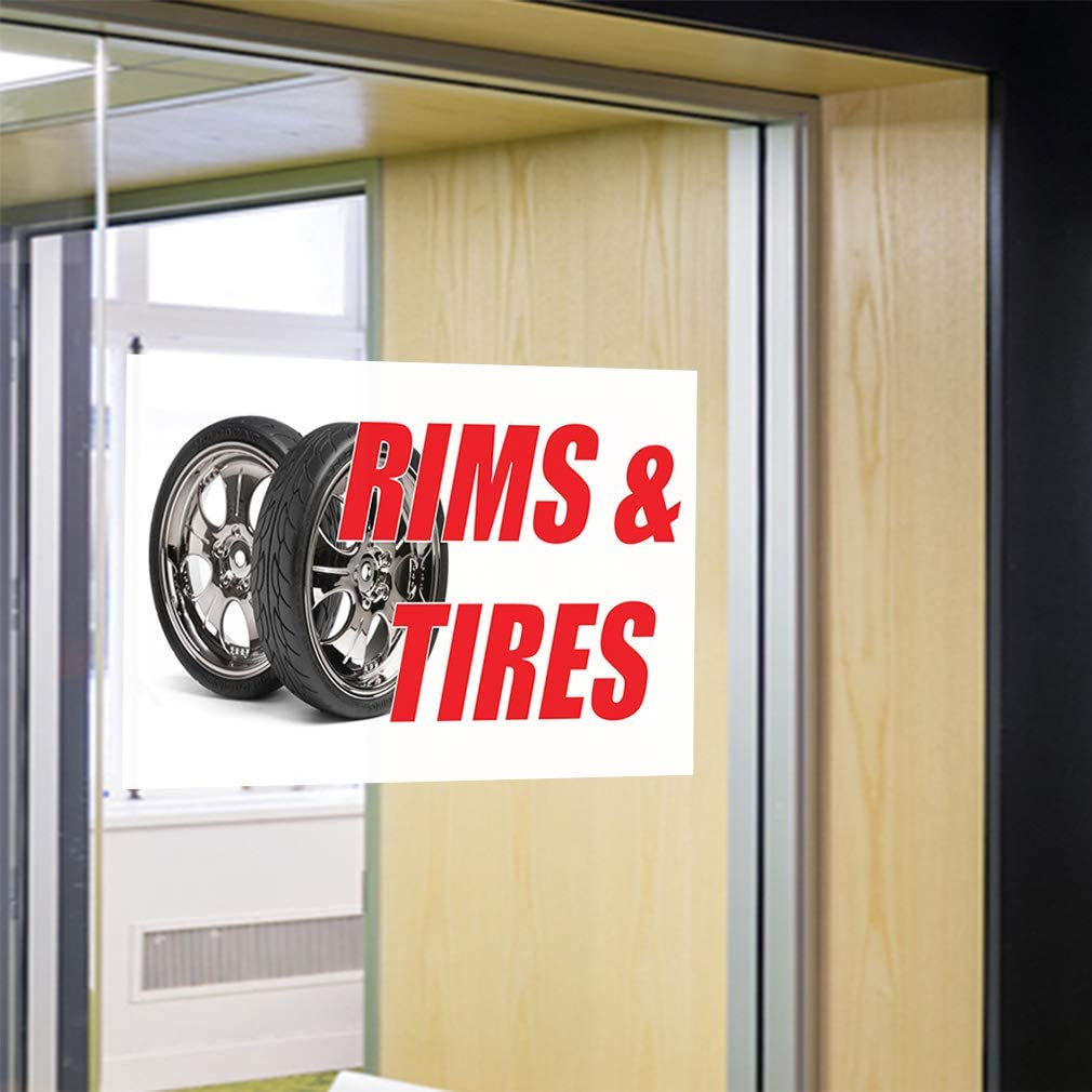 Decal Sticker Multiple Sizes Rims Tires Auto Car Vehicle Automotive Rims Tires Outdoor Store Sign White One Sticker 69inx46in