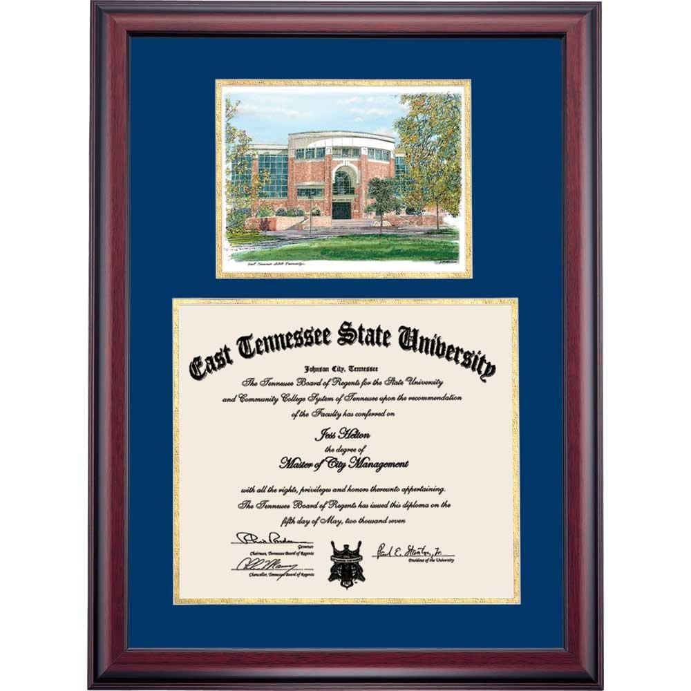 Campus Linens ETSU Buccaneers Diploma Frame Blue Gold Matting Watercolor