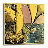 3dRose dpp_11140_1 Sails in Gold-Wall Clock, 10 by 10-Inch For Sale