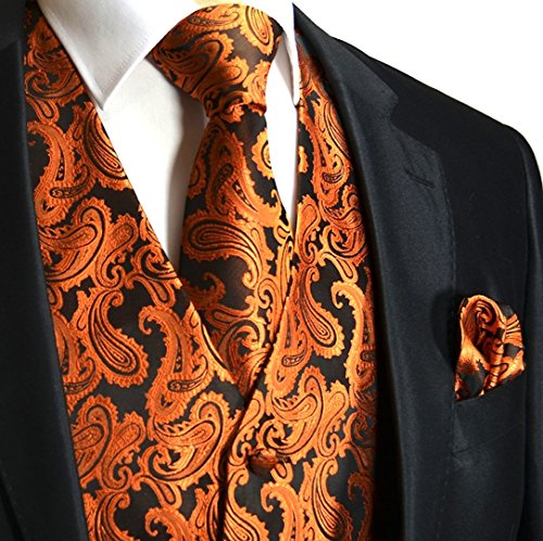 (Men's 3pc Paisley Vest (XS (Chest 39), Rust Orange))