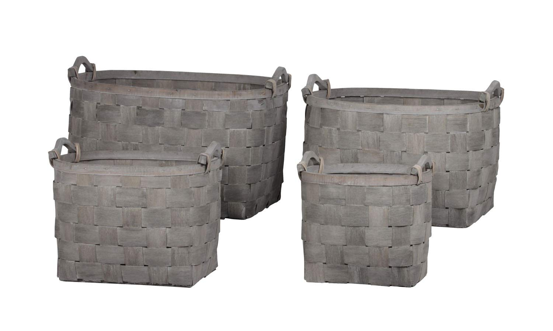Urban Trends Collection UTC58701 Wood Basket Finish Gray