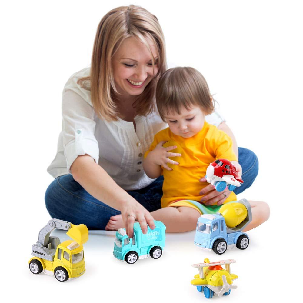 BeebeeRun 4 Pi/èces V/éhicule de Construction Petite Voiture Voiture Enfant Metal Vehicules Jouet de Camion Voiture Cadeau Gar/çon Fille 3 Ans 4 Ans 5 Ans