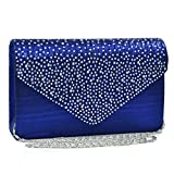 Womens Envelope Flap Clutch Handbag Evening Bag Purse Rhinestone Crystal Glitter Sequin Party Blue