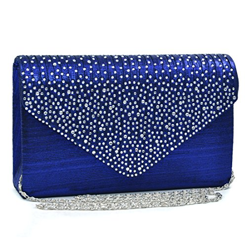Clutch Handbag Evening Bag Purse Rhinestone Crystal Glitter Sequin Party Blue (Blue Dress Shoes Women)
