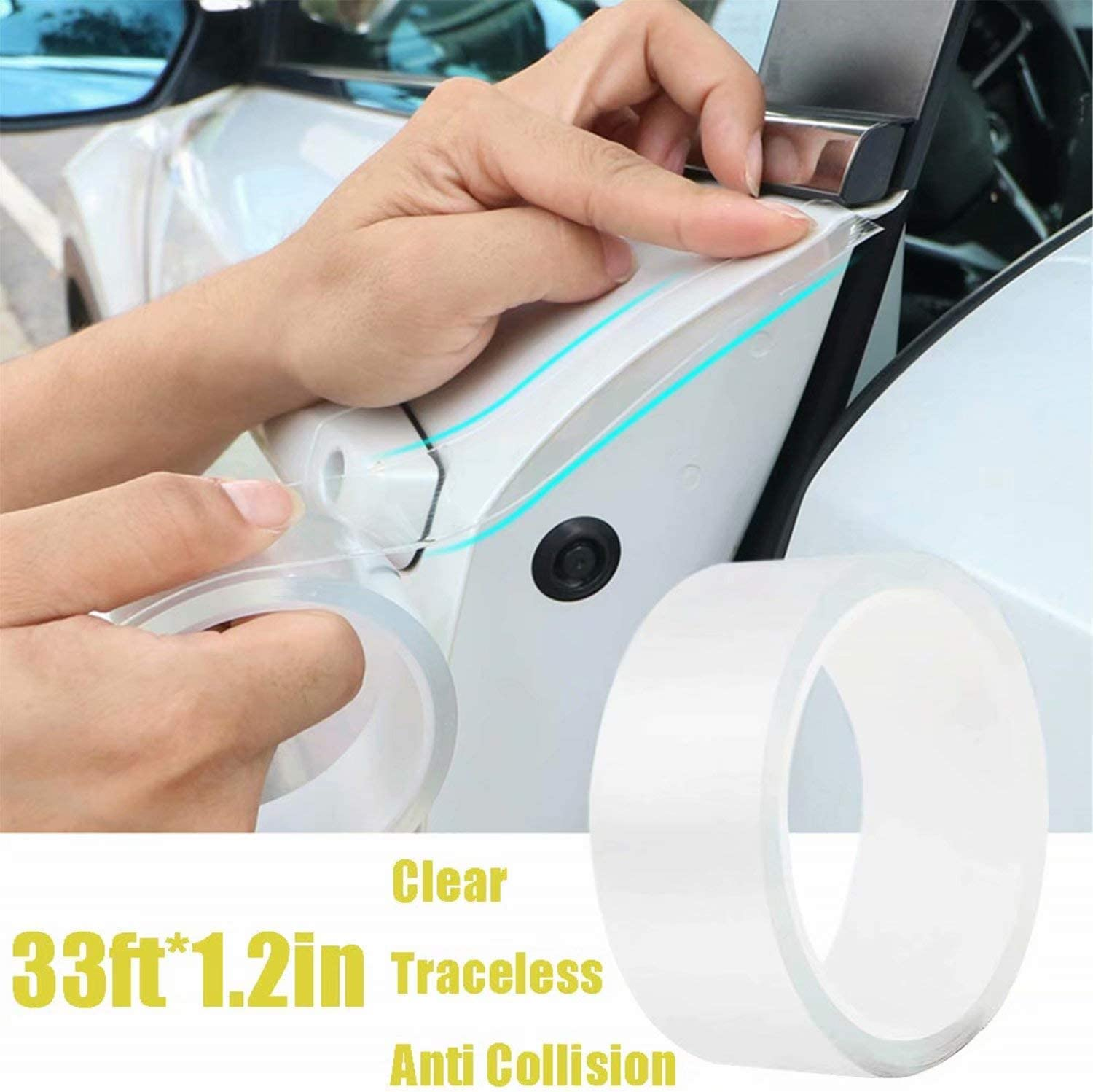 Anti-Collision Transparent Adhesive Tape Seal Strip Edge Entry Sill Guard Scuff Plate Protectors Invisible Universal Anti-Scratch Waterproof Tape for Car Door Edge Bumper Corner Eyebrow Mirror 1.2in