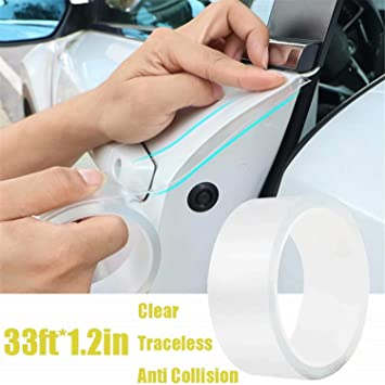 1.2in Anti-Collision Transparent Adhesive Tape Seal Strip Edge Entry Sill Guard Scuff Plate Protectors Invisible Universal Anti-Scratch Waterproof Tape for Car Door Edge Bumper Corner Eyebrow Mirror