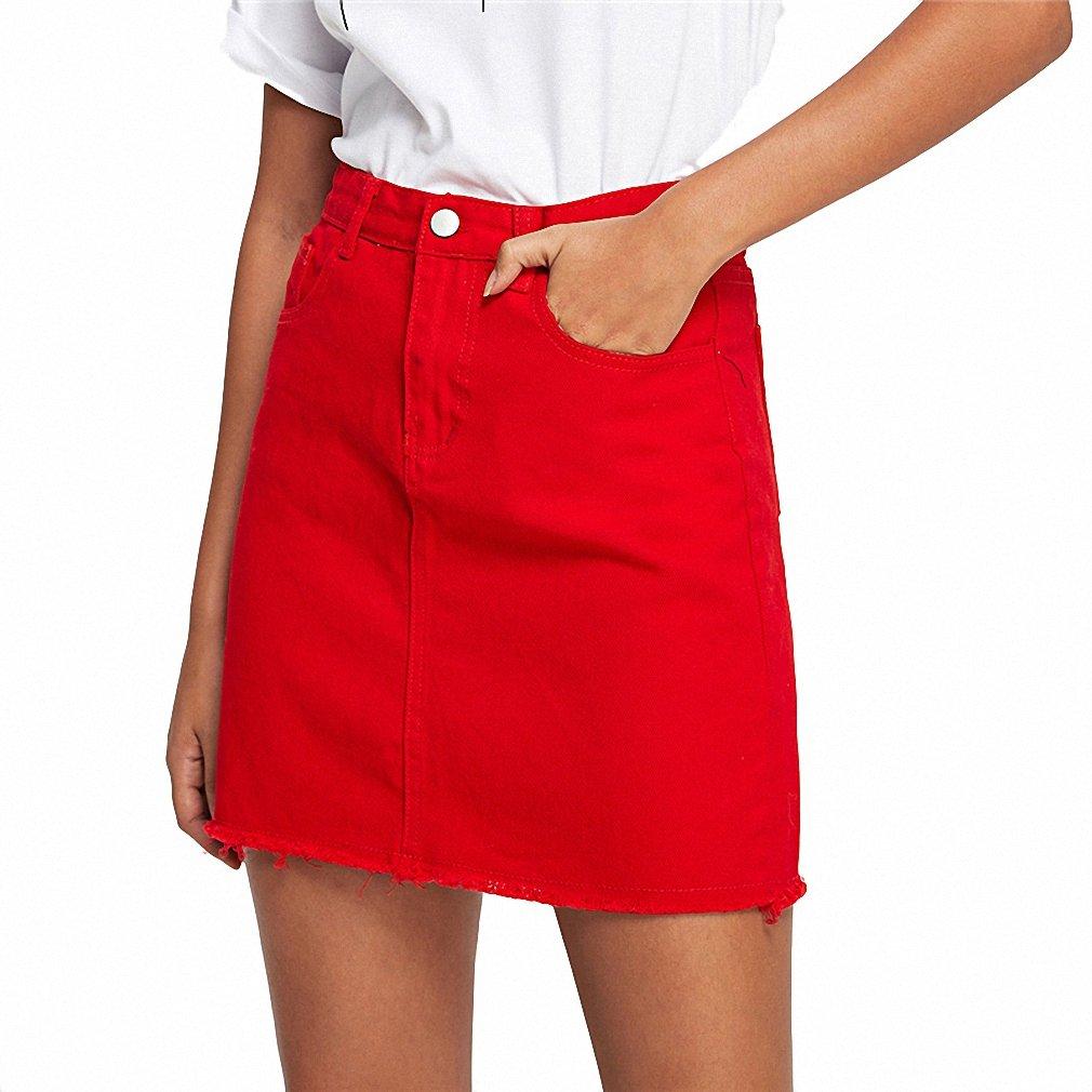Frayed Hem Pockets Denim Skirt Red Ripped Mid Waist Girly Casual Mini Skirt Summer A Line Basic Women Skirt