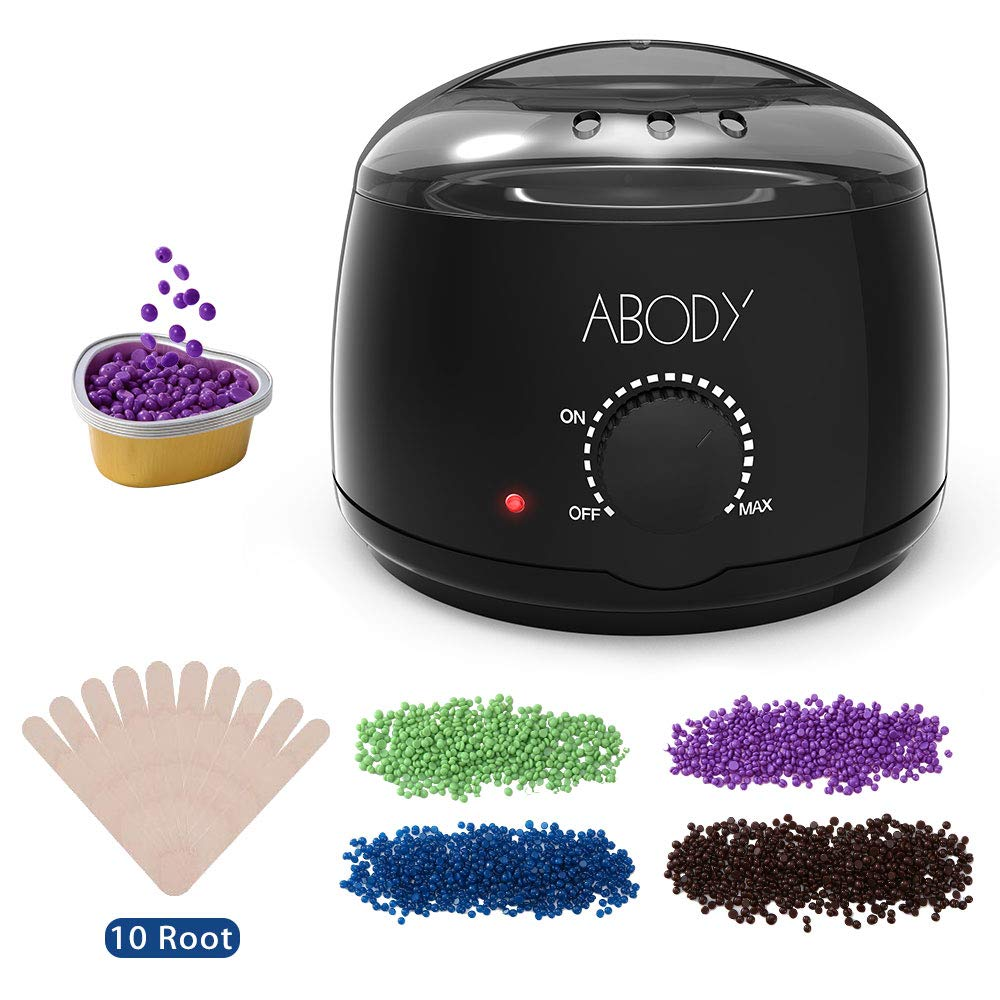 Wax Warmer, Abody Hair Removal Waxing Kit with 4 Bags Wax Bean, 5 Small Heart-shaped Bowls, 10pcs Wax Applicator Sticks, Wax Heater for Rapid Removing Hair of All Body, Legs, and Bikini