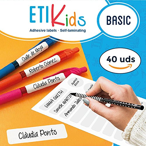 ETIKids 40 Multipurpose Customizable Laminated Adhesive Labels (Basic) for Daycare and School. -