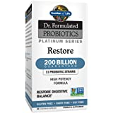 Garden of Life Dr. Formulated Probiotics Platinum Series Restore 200 Billion CFU Guaranteed, High Potency Probiotic Formula, Vegan, Non-GMO, Gluten, Dairy Free Digestive Immune Support, 28 Capsules