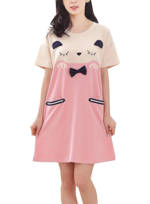 BAIYIXIN Fashion Store Teens Girls Cute Pink Nightgowns Dress ...