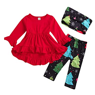 7ccd54d23 Infant Baby Toddler Girls Clothes Christmas Outfits 1-5 Years Old Kids Xmas  Trees Dress