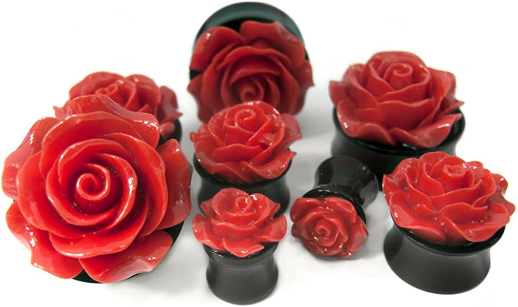Ear Plugs Gauges With O Ring Roses Design