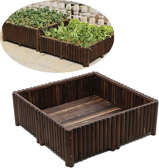 Jardín levantado de Cama, de Madera sobrantes Garden Bed Cajas Kit Flor elevada Cama Planter Box para Hortalizas de Madera Natural 120X120x40cm: Amazon.es: Hogar