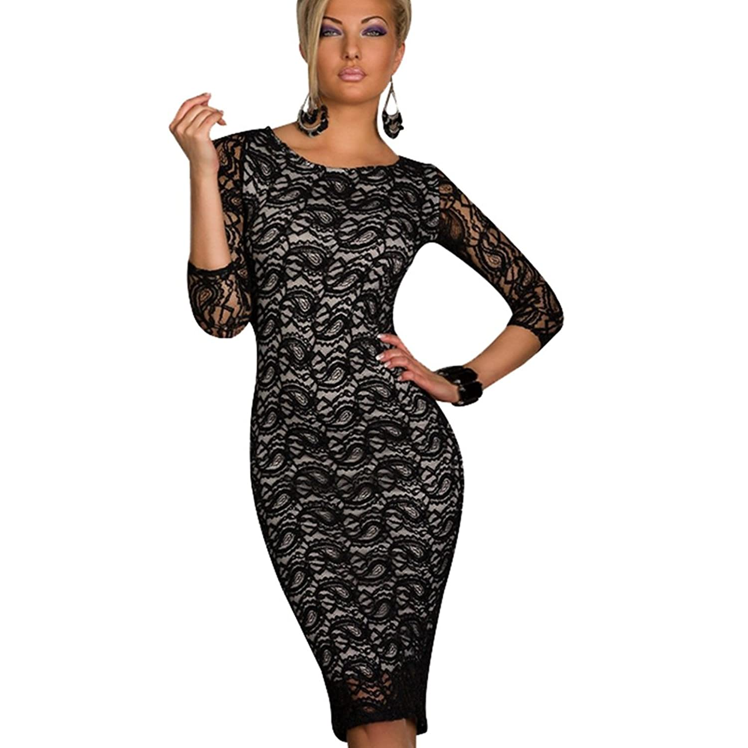PG Teen Girl Vintage Lace Evening Bodycon Dress Homecoming Dress Party Dress Black
