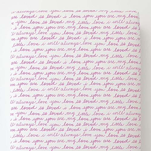 Carousel Designs Hot Pink Love Words Toddler Bed Sheet Fitted by Carousel Designs