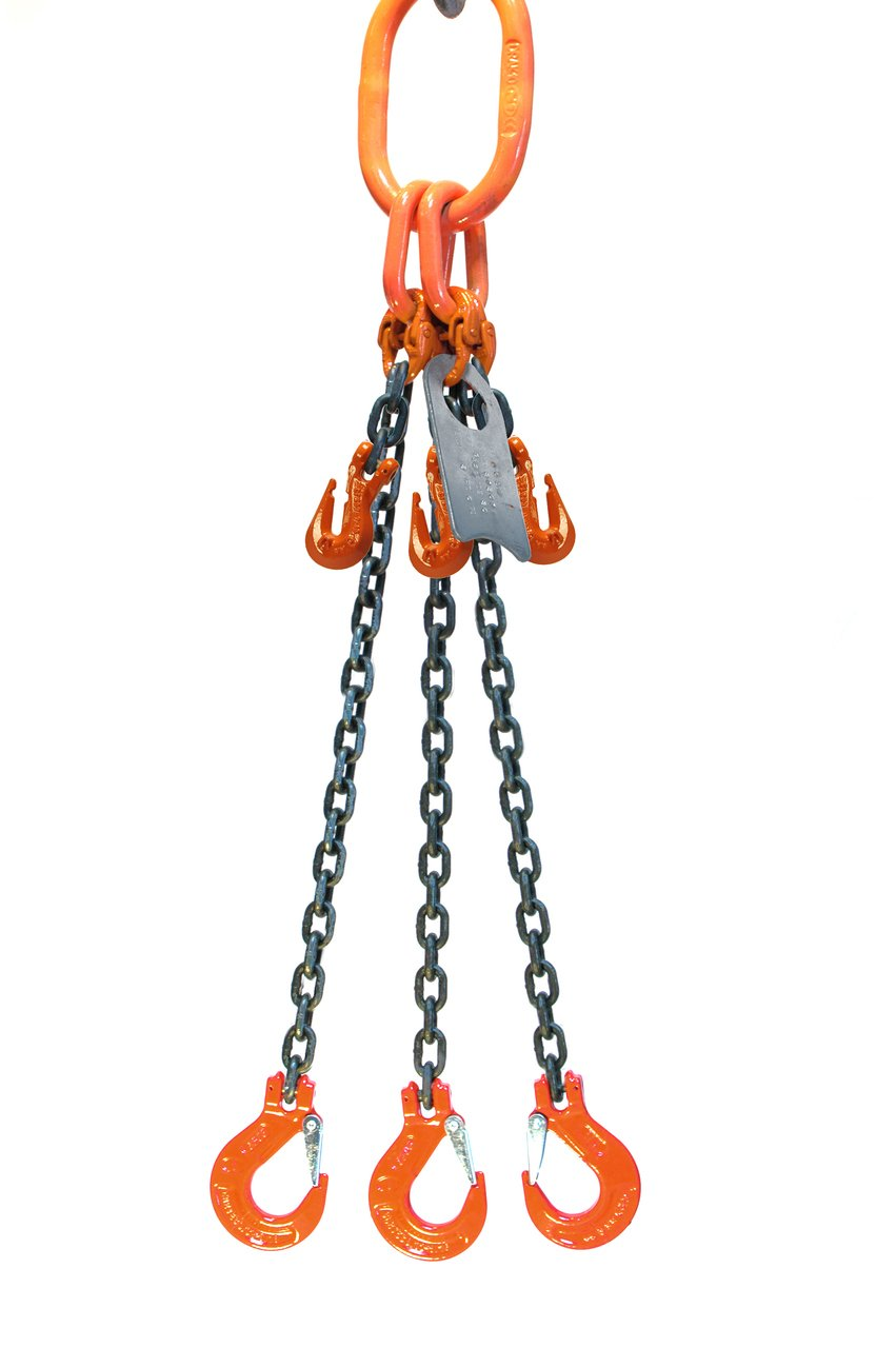 Chain Sling - 5/16'' x 5' Triple Leg with Sling Hooks and Adjusters - Grade 100