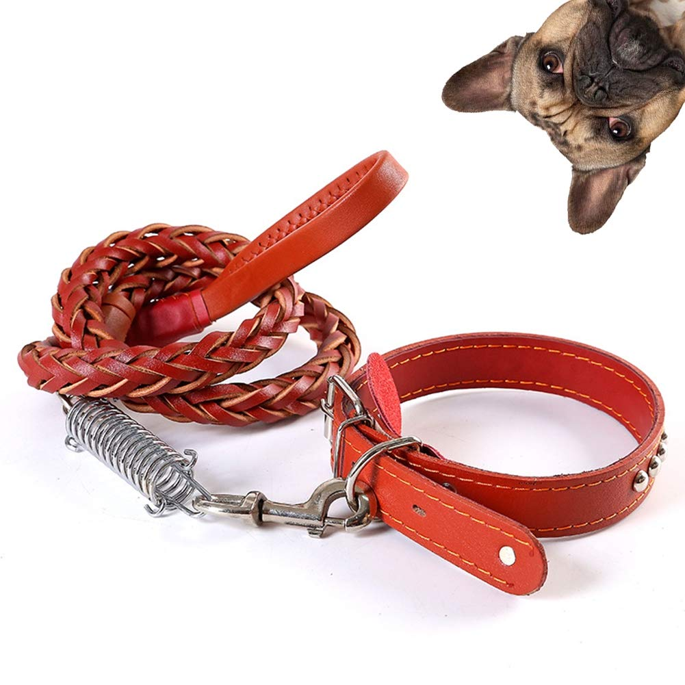 Red Large Red Large Leather Dog Training Leash, for Large Medium Small Dogs Training and Walking, Soft Touch Collars Braided Leather Dog Leash Traffic Handle,Red,L