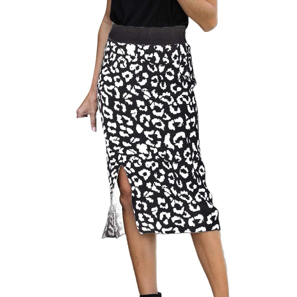 SHUSUEN Women's Elastic Waist Stretch Bodycon Knee Length Leopard Print Pencil Skirt Black by SHUSUEN
