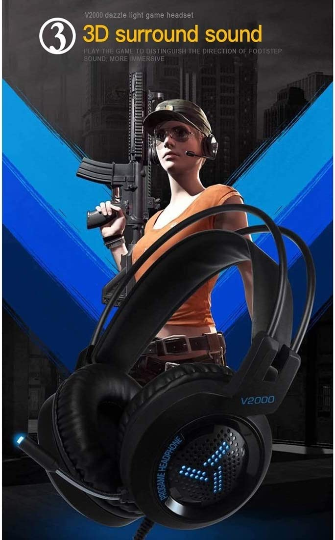 barometric Pressure Cable Length: 2.1m.Wearing Method: Head-Mounted. Guides measurem V2000 Short Microphone Dual 3.5mm Temperature USB Interface Wired Gaming Headset
