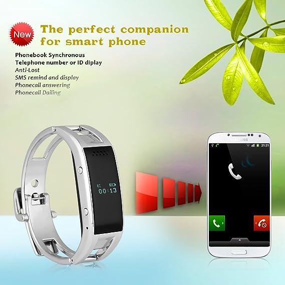 Excelvan-Smartwatch conectado con Bluetooth, correa de acero ...