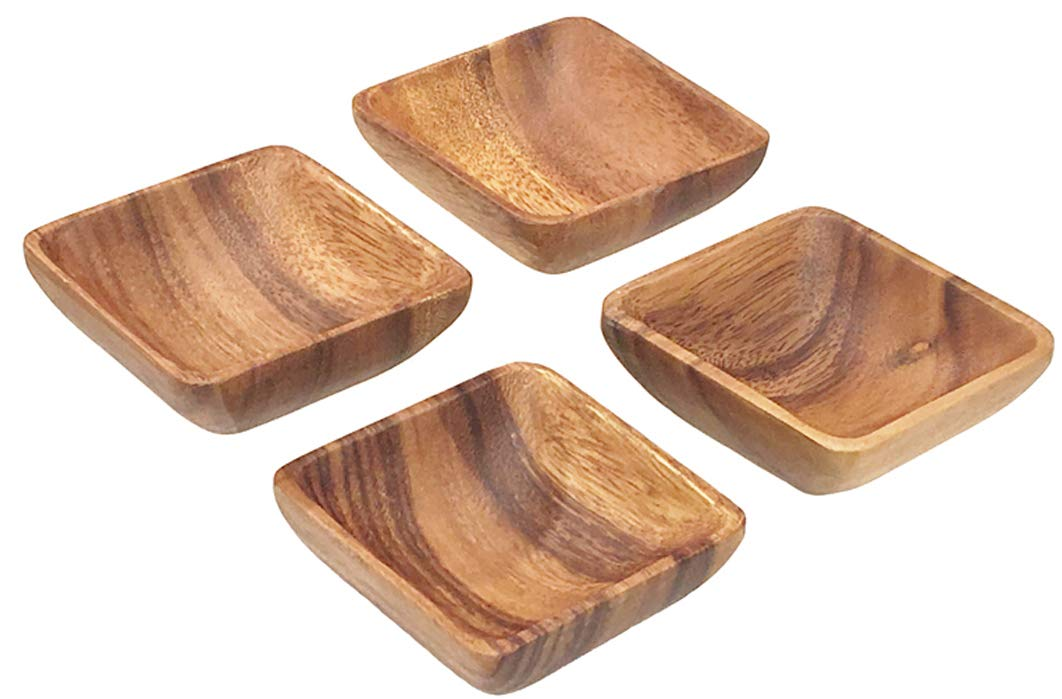 Acaciaware Acacia Wood 4-inch by 1.5-inch Square Dipping and Nut Bowls, Sushi Soy Sauce Set of 4