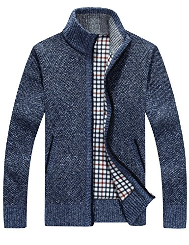 Yeokou Men's Casual Slim Full Zip Thick Knitted Cardigan Sweaters With Pockets (Medium, Blue001) (Thick Wool Sweater)