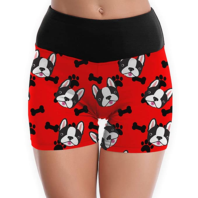 Amazon.com: Bones and Paws Womens Fold Over Yoga Shorts ...